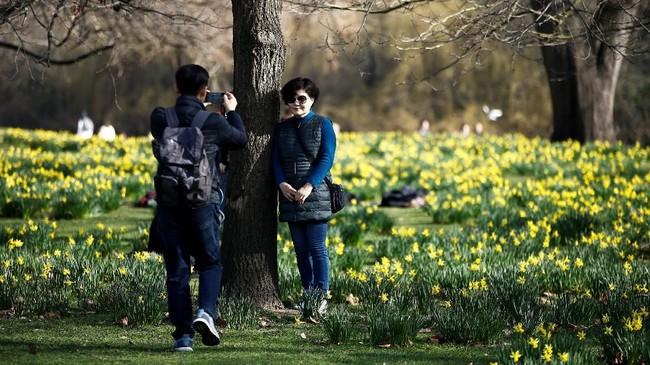 Taman St James berbatasan dengan Istana Buckingham di barat. Taman ini dibuka untuk umum sejak tahun 1603. (REUTERS/Henry Nicholls)