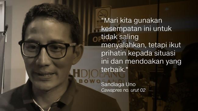 Calon wakil presiden Sandiaga Uno.
