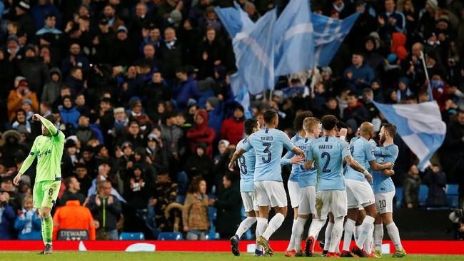 Secara agregat Man City unggul 10-2 atas Schalke dan menjadi kesebelasan Inggris yang mencetak agregat terbesar di Liga Champions. (REUTERS/Andrew Yates)