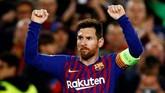 Lionel Messi mencetak gol kedelapan di Liga Champions dan menjadi pemimpin daftar top skor menyamai jumlah gol yang ditorehkan penyerang Bayern Munchen Robert Lewandowski. (REUTERS/Juan Medina)