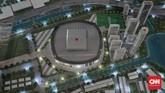 Jakarta International Stadium dibangun di atas tanah seluas 221 ribu meter persegi. Stadion multifungsi itu nantinya dapat menampung 82 ribu penonton dengan atap yang dapat dibuka-tutup secara otomatis. (CNN Indonesia/Andry Novelino)