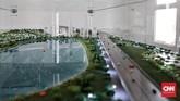 Selain membangun stadion, juga direncanakan akan terdapat kawasan hijau dan danau. (CNN Indonesia/Andry Novelino)