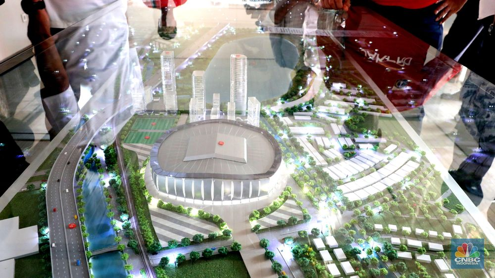 Anies menyebut pembangunan stadion ini merupakan sejarah bagi masyarakat Jakarta. Dulu, 83 tahun lalu pada hari yang sama, Jakarta punya stadion VIJ, Gambir, Jakarta Pusat. (CNBC Indonesia/Muhammad Sabki)