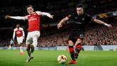 Rennes berupaya merespons setelah tertinggal 0-2 dari Arsenal ketika laga baru berjalan 15 menit. (REUTERS/David Klein)