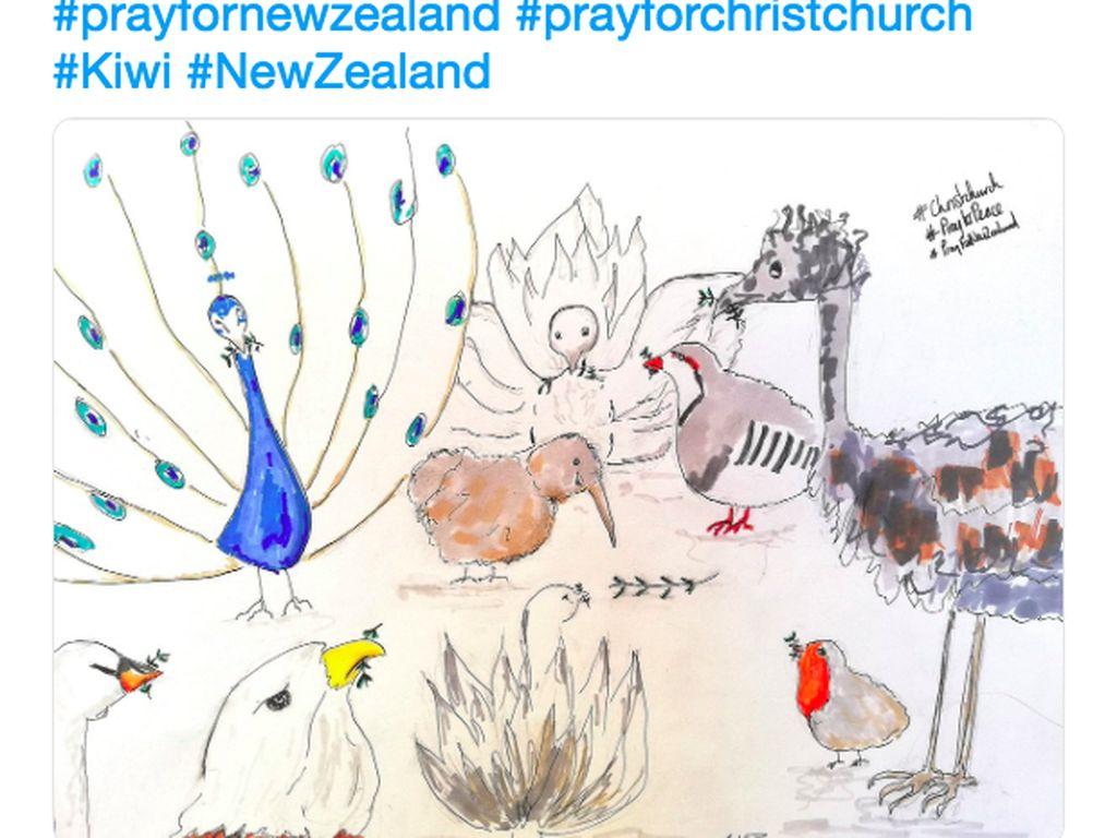 Kiwi ditentramkan oleh para hewan lain. Perlambang Selandia Baru mendapat dukungan dari banyak negara untuk melewati tragedi ini. Foto: istimewa