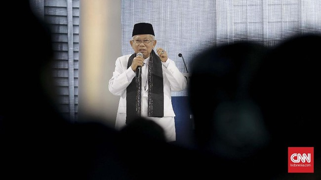 Sedangkan Ma'ruf Amin menjanjikan, jika terpilih bersama Jokowi, akan menumbuhkan 3.500 startup hingga 2024 mendatang. (CNN Indonesia/Andry Novelino).