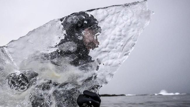 Bongkahan es yang telah dibentuk menjadi papan surfing bisa seberat 60-80 kg. Lebih berat dua sampai tiga kali dari papan biasa. (Olivier MORIN / AFP)