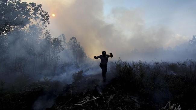 Pendeteksian titik panas itu berdasarkan pantuan lewat Satelit Terra dan Aqua. BMKG Pekanbaru menyatakan titik panas di Riau meningkat pada Rabu (20/3) dibandingkan sehari sebelumnya yakni jadi 165 titik dari semula 156 titik. (ANTARA FOTO/Aswaddy Hamid)
