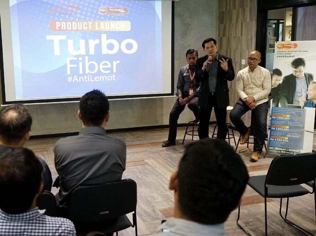 Turbo Fiber #Antilemot resmi diperkenalkan oleh Hawk Tekhnologi Solusi Internet (HTSNET) di Menara Rajawali, Jakarta Selatan, Rabu (20/3/2018). Foto: dok. HTSNet