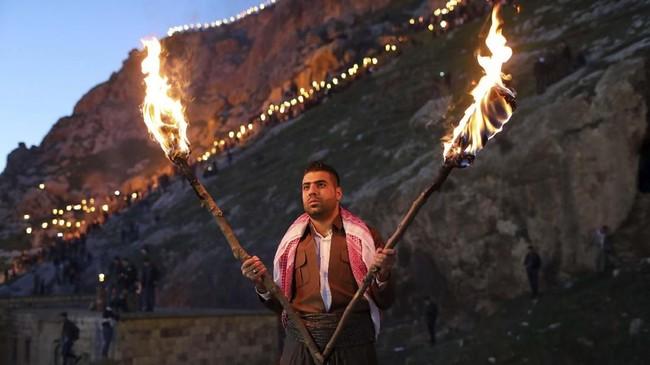 Newroz pertama kali diakui sebagai hari internasional oleh PBB pada 2010. (REUTERS/Ahmed Jadallah)