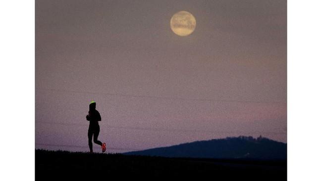 Meskipun bisa diamati dengan mata telanjang, pengamatan menggunakan teleskop atau foto perbandingan membuat bulan lebih besar dan bercahaya. (AP Photo/Michael Probst)