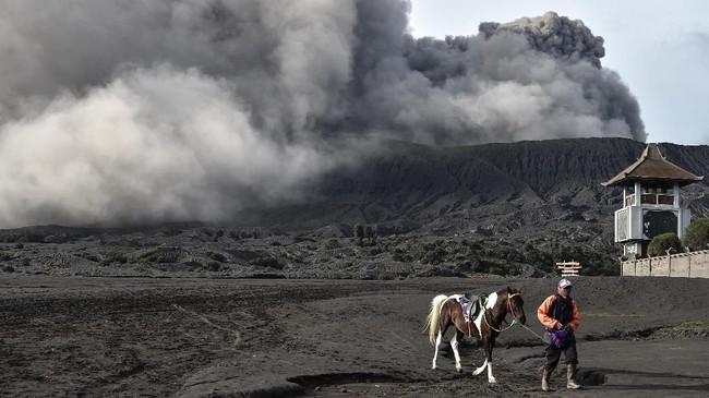 Meski aktivitas wisata di Gunung Bromo tetap berjalan normal, wisatawan dilarang mendekati kawah di bawah radius satu kilometer. (ANTARA FOTO/Widodo S Jusuf)