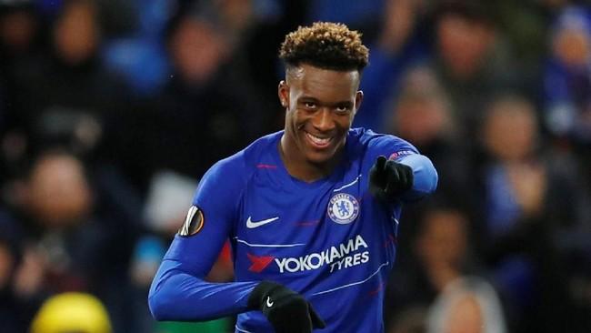 Pemain muda Chelsea, Callum Hudson-Odoi disebut Daily Mailmenarik minat Manchester United. (REUTERS/Eddie Keog)