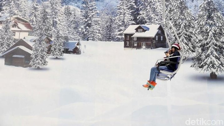 Menjajal Ski Lift Chair & Hamparan Salju di Trans Snow