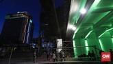 Penutupan tersebut merupakan bagian dari persiapan pengoperasian Moda Raya Terpadu atau MRT akhir Maret mendatang. (CNNIndonesia/Safir Makki)