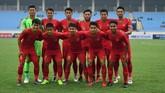 Pelatih Indra Sjafri menurunkan sejumlah pemain cadangan saat Timnas Indonesia U-23 melawan Brunei Darussalam pada laga terakhir Grup K kualifikasi Piala Asia U-23 AFC 2020 di Stadion Nasional My Dinh, Hanoi, Selasa (26/3). (ANTARA FOTO/R. Rekotomo)