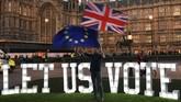 Musyawarah parlemen Inggris yang mengambil alih pembahasan persyaratan untuk keluar dari Uni Eropa (Brexit) malah berujung kebuntuan. (REUTERS/Dylan Martinez)