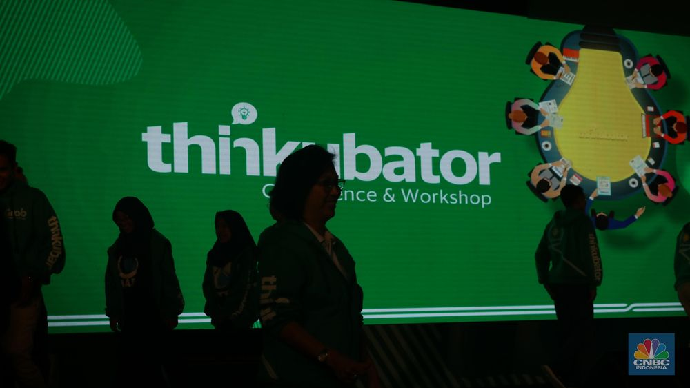 Grab super app terkemuka di Asia Tenggara, hari ini meluncurkan Thinkubator Conference dan starup competition untuk mencari startup decacorn masa depan di Indonesia. (CNBC Indonesia/Muhammad Sabki)