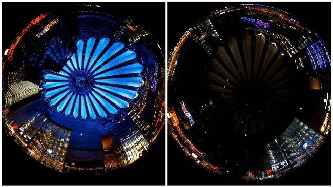 Dalam gerakan Earth Hour, sebanyak 7.000 kota di 180 negara mematikan lampu mulai pukul 20.30 sampai 21.30 waktu setempat. (REUTERS/Fabrizio Bensch)