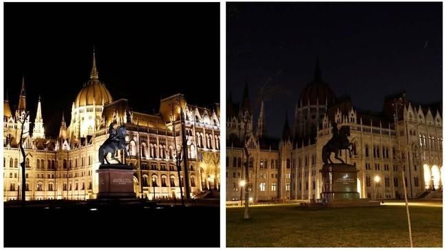 Pada tahun ini sebanyak 12 area dan monumen ikonik di seluruh dunia juga akan ikut mematikan lampunya selama satu jam. (REUTERS/Bernadett Szabo)
