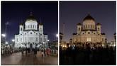 Dalam kegiatan Earth Hour tahun ini mempromosikan tema menjaga keanekaragaman hayati dengan tagar #Connect2Earth. (REUTERS/Tatyana Makeyeva)
