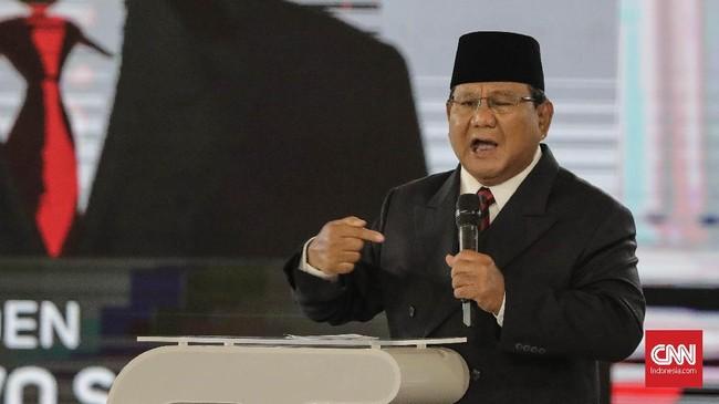 Capres nomor urut 02 Prabowo Subianto saat menyampaikan gagasannya di debat capres putaran keempat di Hotel Shangri La, Jakarta, Sabtu, 30 Maret 2019. CNNIndonesia/Adhi Wicaksono.
