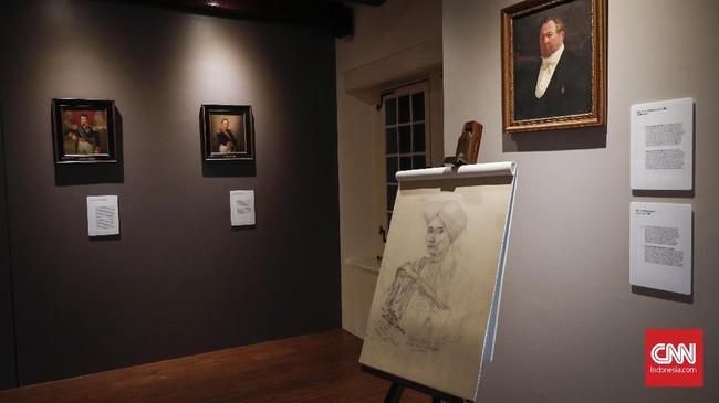 Potret sketsa Diponegoro yang dibuat oleh Hakim Batavia, Adrianus Johannes Bik, seorang seniman yang berbakat dan bertugas untuk mengawasi Pangeran selama ditahan di sini. (CNNIndonesia/Safir Makki)
