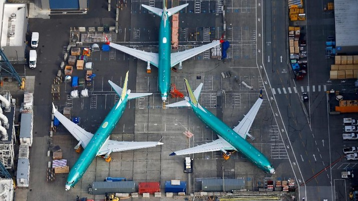 FILE PHOTO: An aerial photo shows Boeing 737 MAX airplanes parked on the tarmac at the Boeing Factory in Renton, Washington, U.S. March 21, 2019.  REUTERS/Lindsey Wasson/File Photo