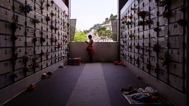 Saat Festival Ching Ming tiba, keluarga-keluarga di China mengunjungi makam leluhur untuk membersihkan kuburan, berdoa dan mengadakan persembahan ritual.(Photo by Anthony WALLACE / AFP)