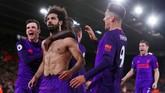 Mohamed Salah berhasil mengakhiri paceklik gol bersama Liverpool saat membawa The Reds menang 3-1 atas Southampton di Liga Inggris. Ini adalah gol ke-50 Salah bersama Liverpool di Liga Inggris. (Reuters/Andrew Couldridge)