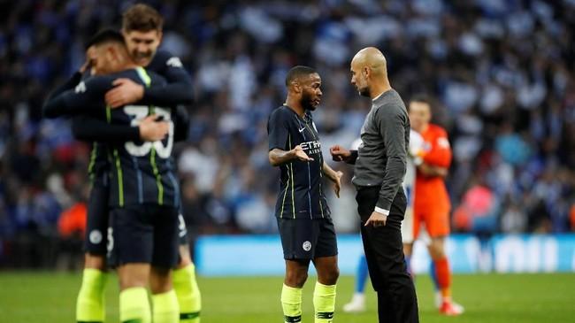 Manchester City menjaga peluang merebut empat gelar atau quadruple musim ini setelah menang 1-0 atas Brighton & Hove Albion di semifinal Piala FA lewat gol Gabriel Jesus. (Reuters/Carl Recine)