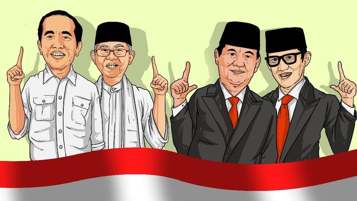 Perhitungan suara Pilpres Jokowi -Ma'ruf Amin dan Prabowo - Sandiaga