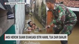 VIDEO: Aksi Heroik Suami Evakuasi Istri Hamil Tua dari Banjir
