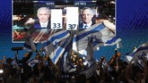 Partai Likud yang mengusung Netanyahu meraih 37 kursi di parlemen (Knesset). Sedangkan Partai Biru Putih yang mencalonkan Benny Gantz meraih 36 kursi. (Photo by MENAHEM KAHANA / AFP)