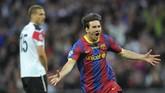 Total Lionel Messi meraih dua kemenangan, satu hasil imbang, satu kalah, dari empat pertandingan melawan Manchester United di Liga Champions. Dari 332 menit pertandingan Messi mencetak dua gol. (AFP PHOTO / LLUIS GENE)