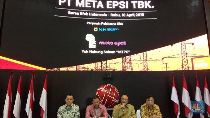 Emiten pendatang baru PT Meta Epsi mengalami tren penurunan harga saham disertai dengan penurunan volume transaksi perdagangan.