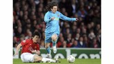 Pada leg kedua di Old Trafford, 29 April 2008, Lionel Messi bermain penuh. Namun, Barcelona kalah 0-1 setelah Manchester United mencetak gol lewah Paul Scholes. (AFP PHOTO/ANDREW YATES)