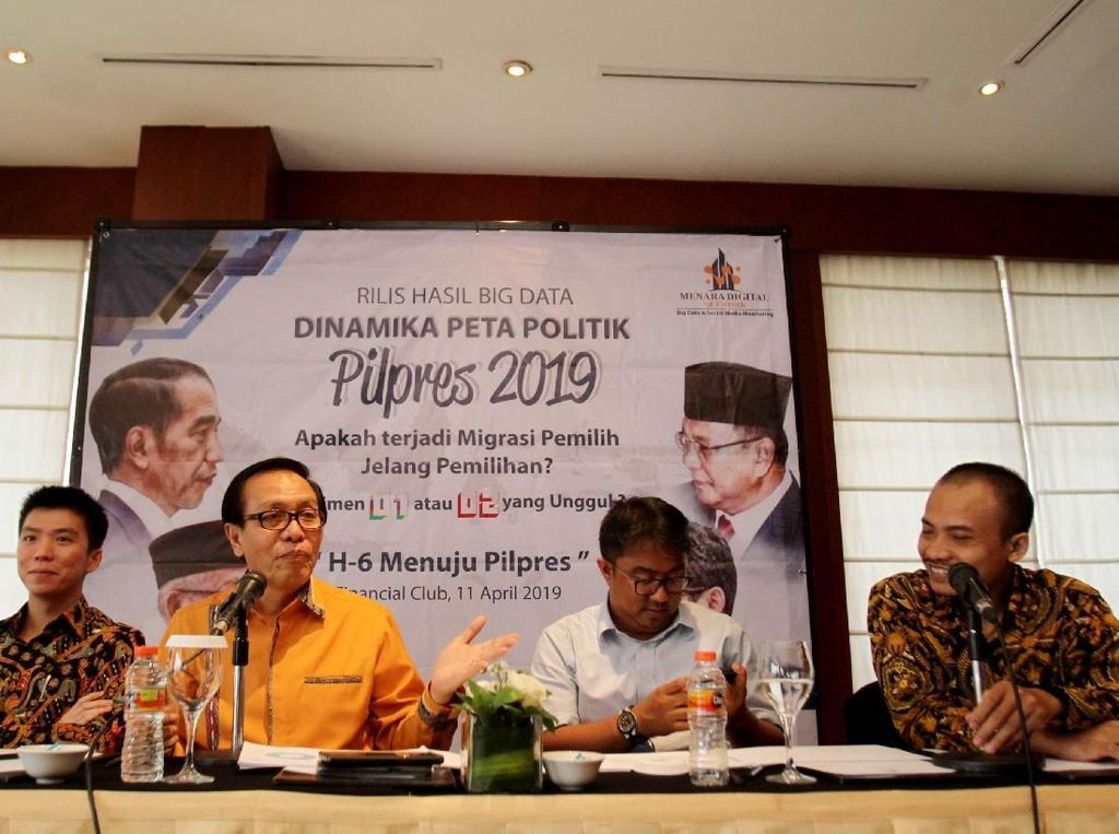 Prediksi tersebut juga mencakup wilayah persebaran percakapan di media sosial yang semakin hari makin marak. Hasilnya Prabowo-Sandi unggul 55,6% dan Jokowi-Maruf 44,4%. Foto: dok. BigData