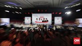 Suasana debat kelima Pilpres 2019 yang diikuti pasangan capres-cawapres nomor urut 01 Joko Widodo dan Ma'ruf Amin serta pasangan nomor urut 02 Prabowo Subianto dan Sandiaga Uno di Hotel Sultan, Jakarta, Sabtu (13/4/2019). (CNN Indonesia/Adhi Wicaksono)