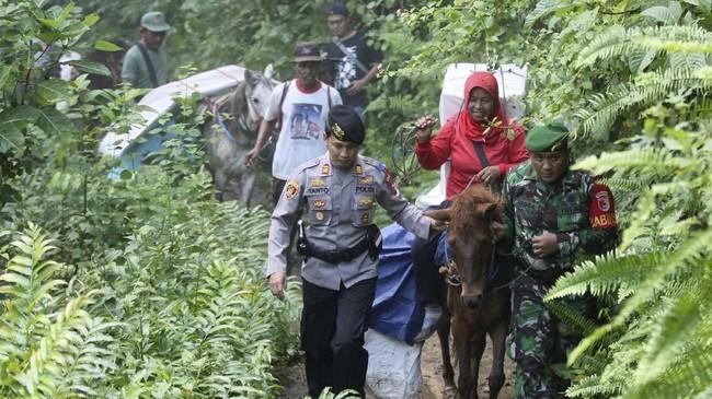 Anggota Polri dan TNI mengawal distribusi logistik Pemilu 2019 yang diangkut menggunakan kuda ke TPS-TPS di desa terpencil di Tempurejo, Jember, Jawa Timur, Indonesia, Senin (15/4). (AP Photo/Trisnadi)