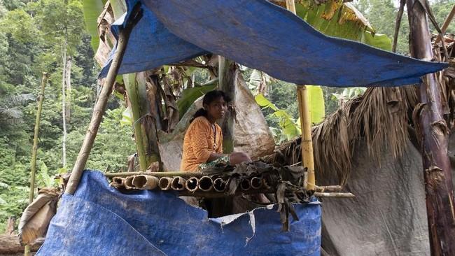 Perempuan warga suku Polahi berada di gubuk tempat mengamati lahan perkebunan mereka di tengah perbukitan dan hutan di Boliyohuto. (ANTARA FOTO/Adiwinata Solihin)