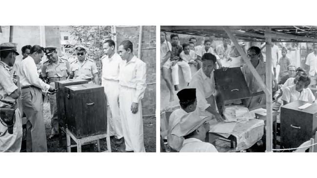 Anggota PPPS sedang membuka kotak suara sebelum penghitungan suara DPR, Jakarta 29 September 1955. (Sumber: ANRI)