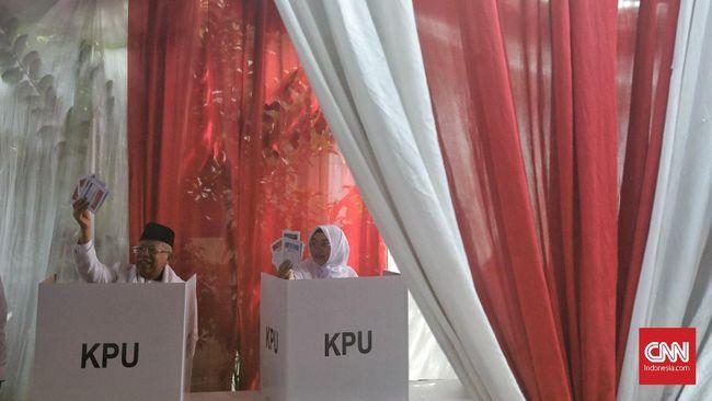 Jokowi Unggul 3 Suara dari Prabowo di TPS Ma'ruf Amin