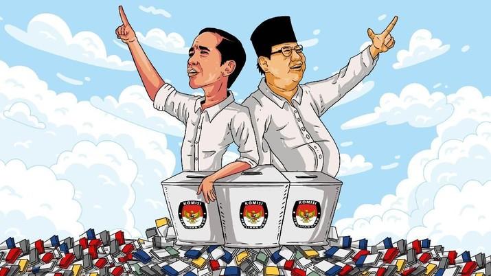 Situs penghitungan KPU mencatat hingga saat ini masih unggul Jokowi-Ma'ruf. Suara pasangan Prabowo-Sandi makin tenggelam, beda 9 juta suara.