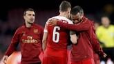 Kemenangan 1-0 Arsenal atas Napoli memuluskan langkah The Gunners ke semifinal. Selanjutnya Arsenal akan berhadapan dengan Valencia. (Action Images via Reuters/Matthew Childs)