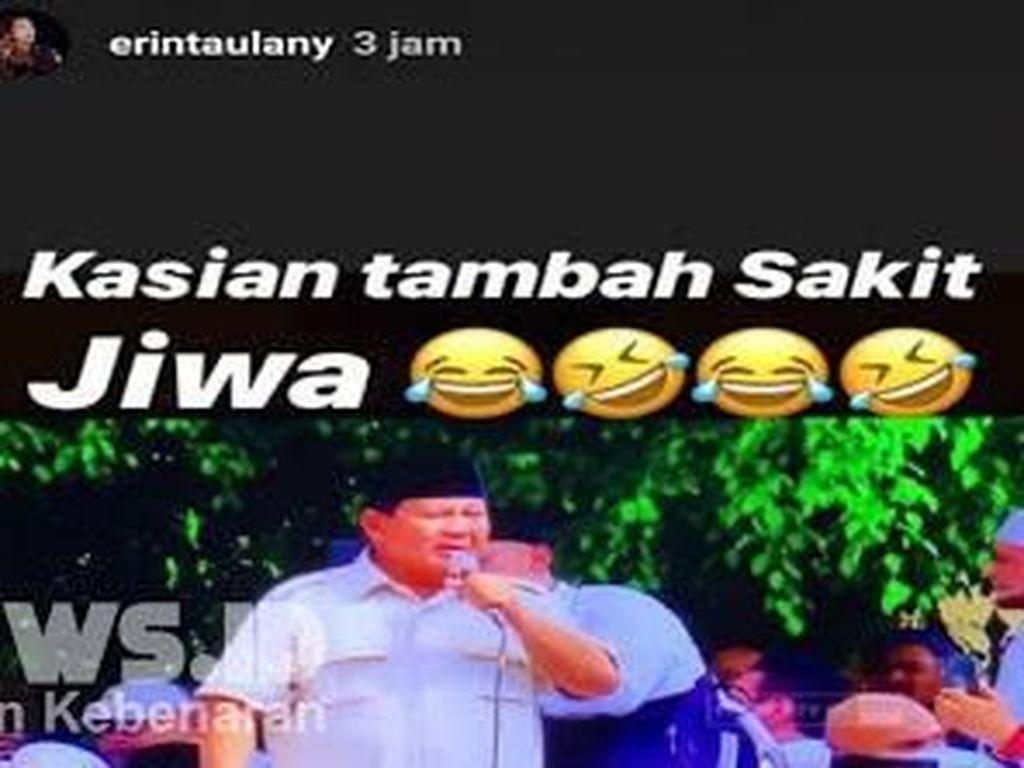 Postingan Erin Taulany memang cukup keras terhadap pidato Prabowo dan memancing orang lain men-screenshoot unggahannya. Foto: Postingan Erin Taulany / ist