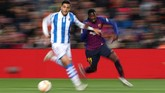 14 - Ousmane Dembele mencetak satu assist ketika Barcelona menghadapi Real Sociedad. Dalam karier bersama klub-klub top seperti Borussia Dortmund dan Barcelona, penyerang Perancis itu mencetak 14 assist dengan kaki kiri dan 14 assist dengan kaki kanan serta 14 gol kaki kanan dan 14 gol kaki kiri. REUTERS/Albert Gea)