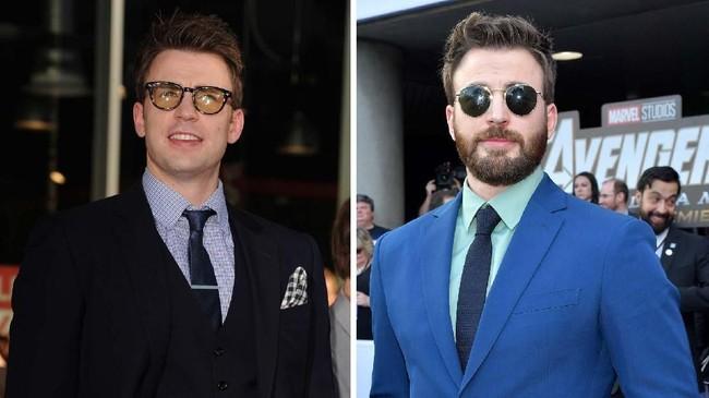 Chris Evans pertama memerankan Captain America pada 'Captain America: The First Avenger' tahun 2011 (kiri) dan masih bertahan sampai 'Avengers: Endgame' di mana ia memerankan Sang Cap untuk kali terakhir (kanan). (Kevin Winter/Amy Sussman/Getty Images/AFP/)