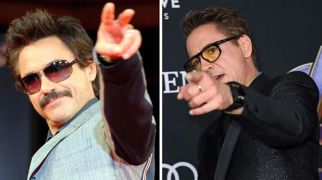 Robert Downey Jr. di premier 'Iron Man' pada 2008 (kiri) dan pemeran Tony Stark di karpet merah 'Avengers: Endgame' pada 2019 (kanan). (AFP PHOTO/TOSHIFUMI KITAMURA/VALERIE MACON)
