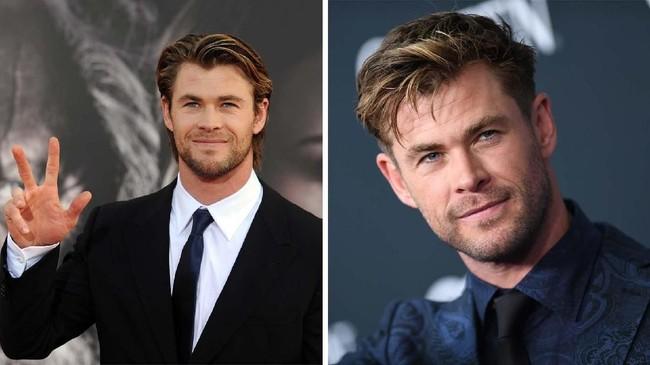Chris Hemsworth sudah ada di semesta Marvel sejak ia bermain sebagai Thor pada 2011 (kiri) dan masih ada hingga 'Avengers: Endgame' yang baru premier di Los Angeles Selasa (23/4) kemarin (kanan). (AFP PHOTO/GABRIEL BOUYS/VALERIE MACON)